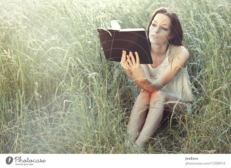 Woman Nature Beautiful Summer Relaxation Adults Life Meadow Grass Natural Garden Freedom Leisure and hobbies Bushes Sit Study