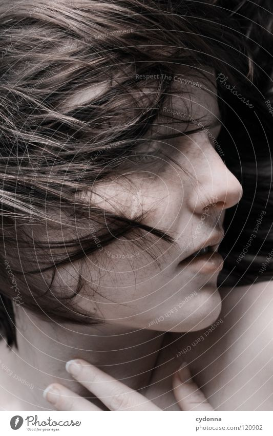 Woman Human being Nature Beautiful Black Calm Feminine Life Emotions Head Movement Hair and hairstyles Style Sadness Dream Art