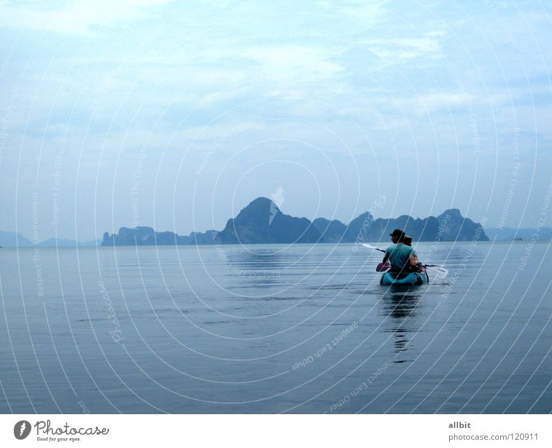 Nature Water Ocean Blue Calm Loneliness Far-off places Sports Canoe Watercraft Island Asia Thailand Rowing National Park Kayak
