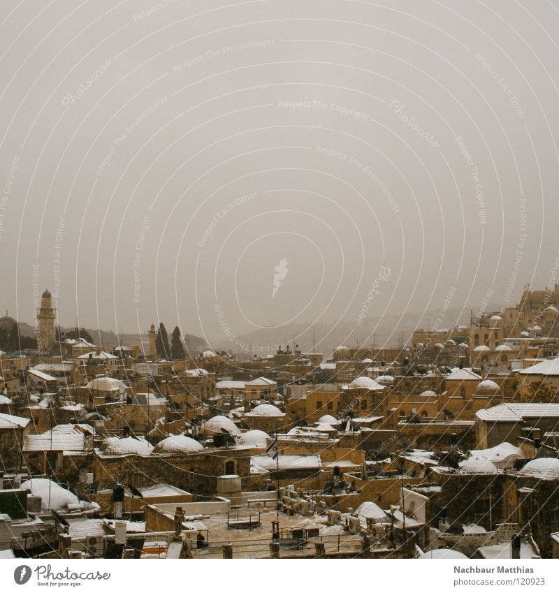 City White House (Residential Structure) Winter Snow Weather Roof Old town Israel Arabia West Jerusalem East Jerusalem Mount of olives