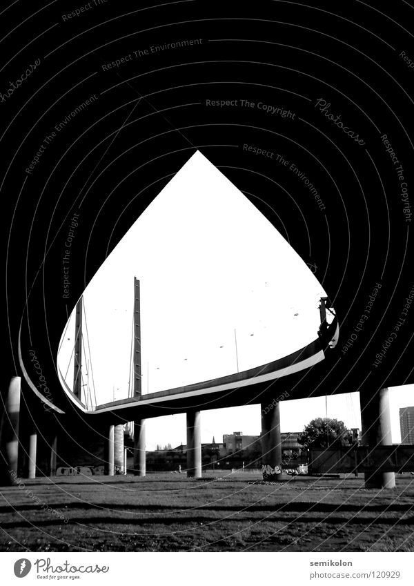 instant Curved Bridge Black & white photo eye Structures and shapes Flame Street Duesseldorf