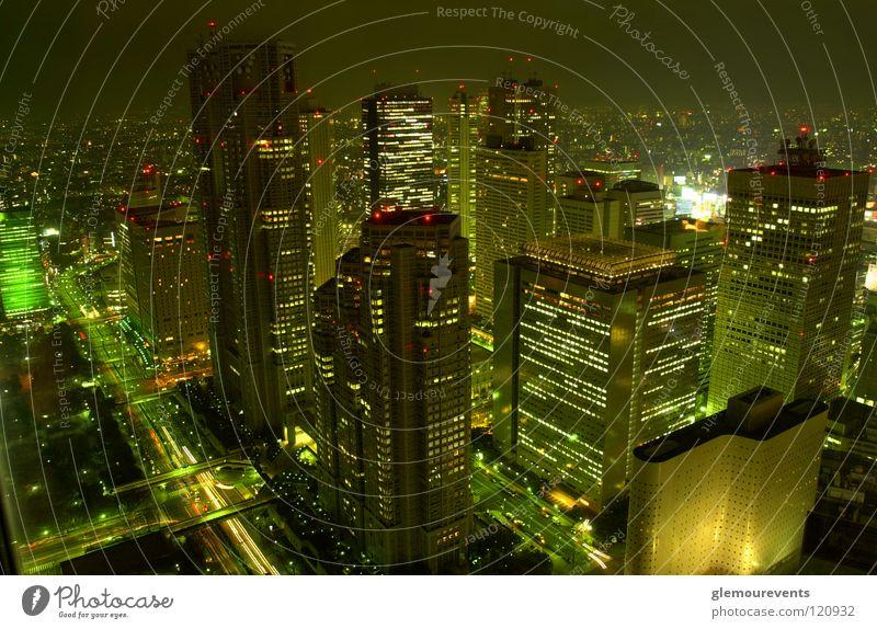 Skyscrapers in Japan High-rise Night Town Tokyo Park Hyatt Tokyo Evening Light future Modern Really