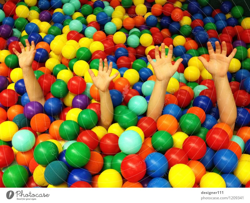 everything so beautifully colorful here Human being Child Brothers and sisters Hand 2 Art ball pool Swimming & Bathing Touch Movement Communicate Lie Playing