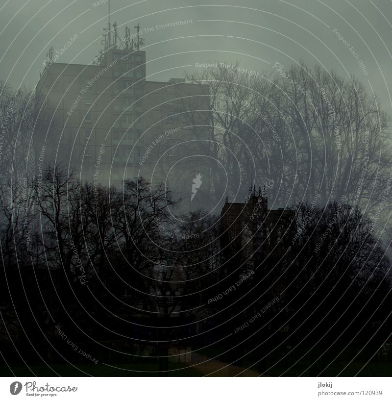 spooky Double exposure High-rise Leipzig Dark Evening Clouds Antenna Story Balcony Window Concrete House (Residential Structure) Building Tree Foreground