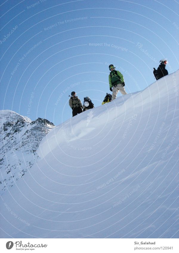 Sky Vacation & Travel Youth (Young adults) Blue White Joy Mountain Emotions Snow Sports Playing Rock Beautiful weather Peak Snowcapped peak Cloudless sky