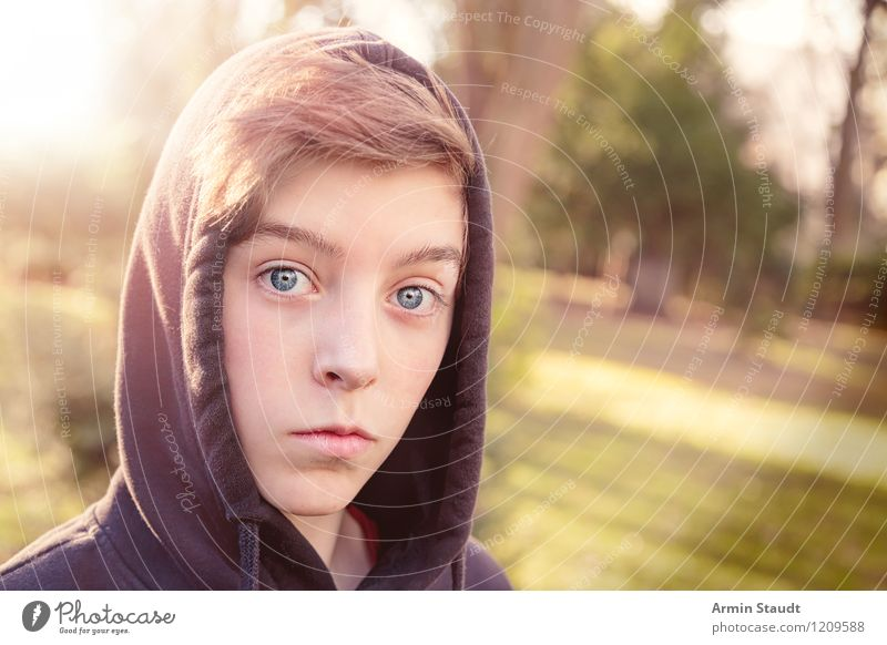 Portrait Lifestyle Style Beautiful Human being Masculine Young man Youth (Young adults) Head 13 - 18 years Child Nature Park Hooded (clothing) hoodie Looking