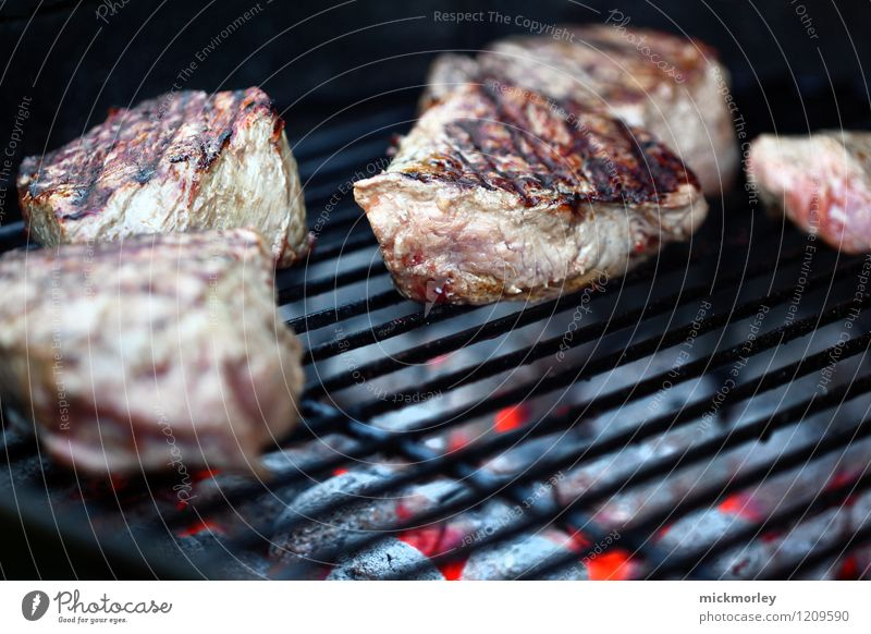 Juicy steaks on the charcoal grill Food Meat Nutrition Fast food Barbecue (event) Steak Churrasco grill master Lifestyle Healthy Eating Grill Charcoal Coal