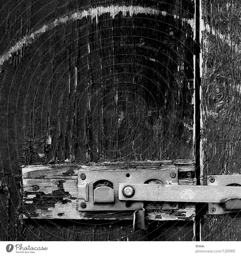 Old Garden Wood Brown Metal Door Closed Castle Derelict Craft (trade) Silver Wooden board Screw Column Slit Hanger