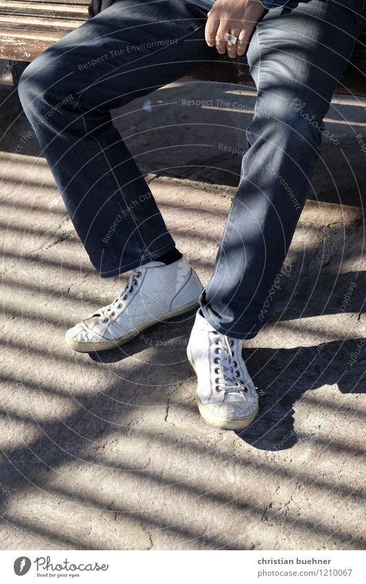 zebra Man Adults Legs Feet 1 Human being Jeans Sneakers Relaxation Sit Wait Contentment Serene Boredom Fatigue Loneliness Exhaustion Movement Disappointment