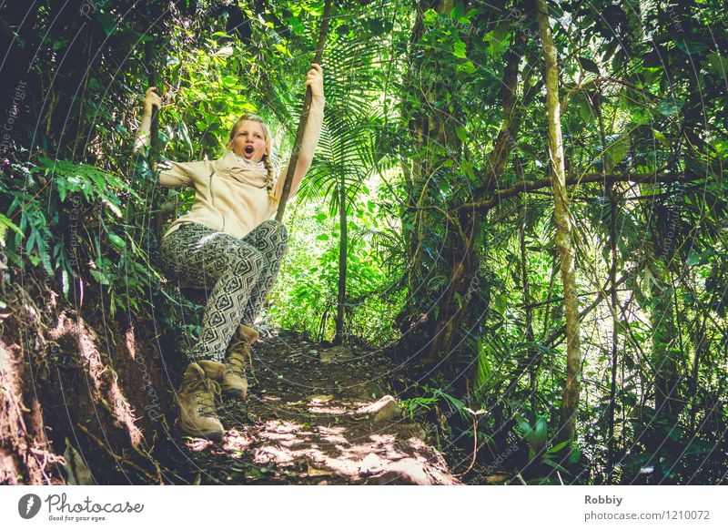 Aaaeeoooooeeooo!!! Vacation & Travel Adventure Young woman Youth (Young adults) 1 Human being 18 - 30 years Adults Nature Tree Liana Forest Virgin forest