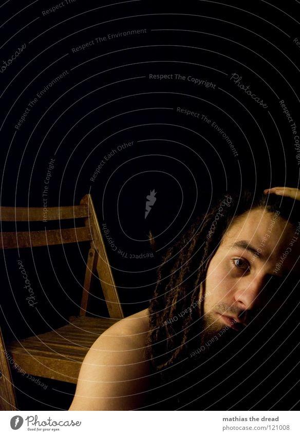--> IT'S-MI-AGAIN-OVERTAXED-! <-- Dreadlocks Felt Long Dark Upper body Man Masculine Concealed Facial hair Beard hair Unshaven Light Visual spectacle