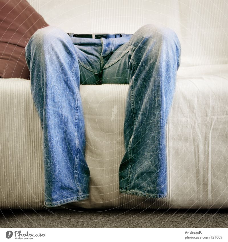 No ass in the pants. Pants Ghostly Air Light Jeans Memory Knee Transparent Invisible Television Man Sofa Living room Transience Legs Human being Sit