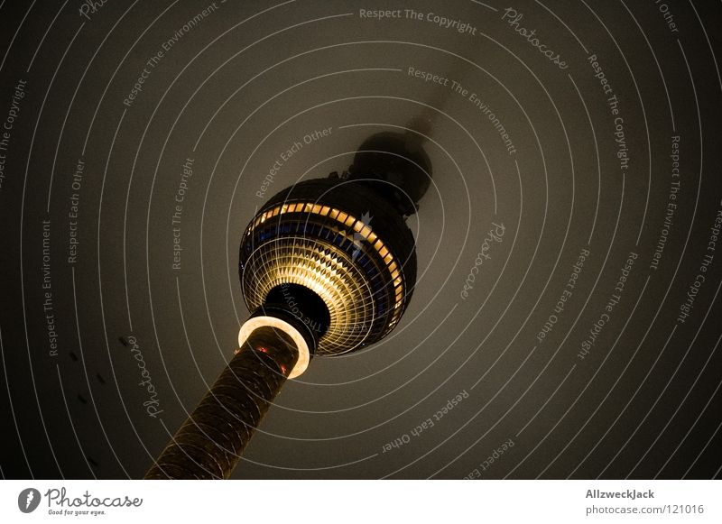 Clouds Dark Architecture Building Lighting Berlin Fog Tower Middle Manmade structures Monument Landmark Radio (broadcasting) Dreary East Berlin TV Tower