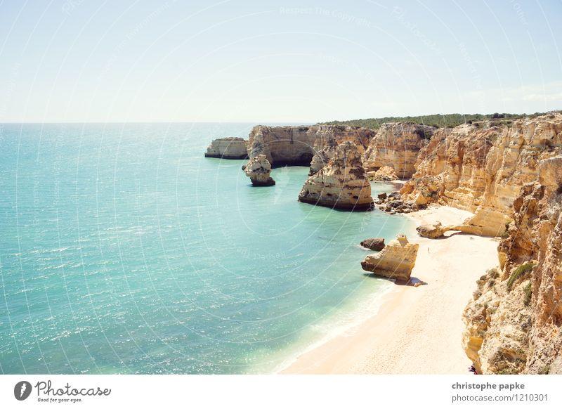 Vacation & Travel Summer Ocean Beach Coast Bright Rock Waves Beautiful weather Bay Cloudless sky Sunbathing Hot Portugal Atlantic Ocean Algarve