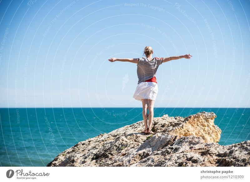 Human being Woman Vacation & Travel Youth (Young adults) Summer Young woman Ocean Far-off places Adults Feminine Coast Happy Freedom Horizon Contentment Tourism