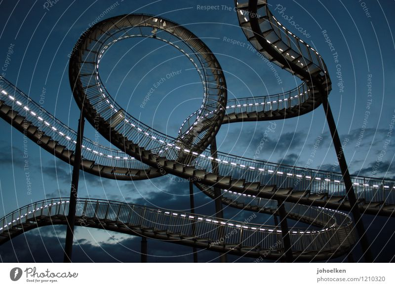 Blue Clouds Joy Black Architecture Art Stairs Fear Elegant Large Trip Speed Adventure Fear of heights Steel Fairs & Carnivals