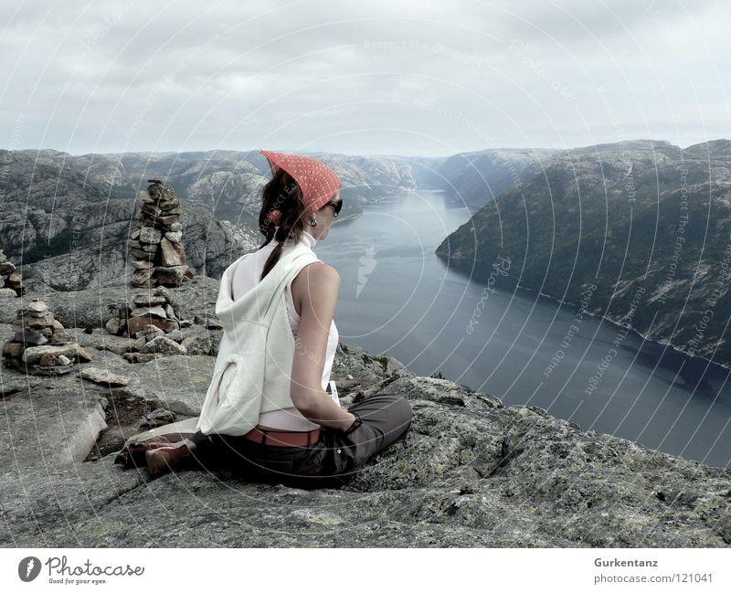 Woman Nature Beautiful Calm Mountain Stone Landscape Sit Esthetic River Vantage point Posture Longing Brook Wanderlust Norway