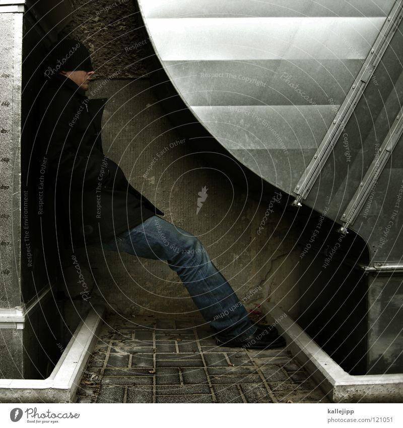 Human being Man Architecture Legs Metal Feet Climate Sleep Round Posture Jeans Cap Jacket Steel Coat Cheek