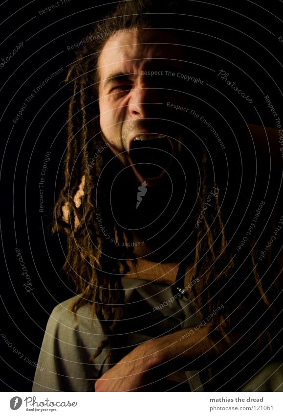 ---> ¶¶ DON'T PANIC ¶¶ Dreadlocks Felt Long Dark Upper body Man Masculine Concealed Facial hair Beard hair Unshaven Visual spectacle Shadow play Pants Chin
