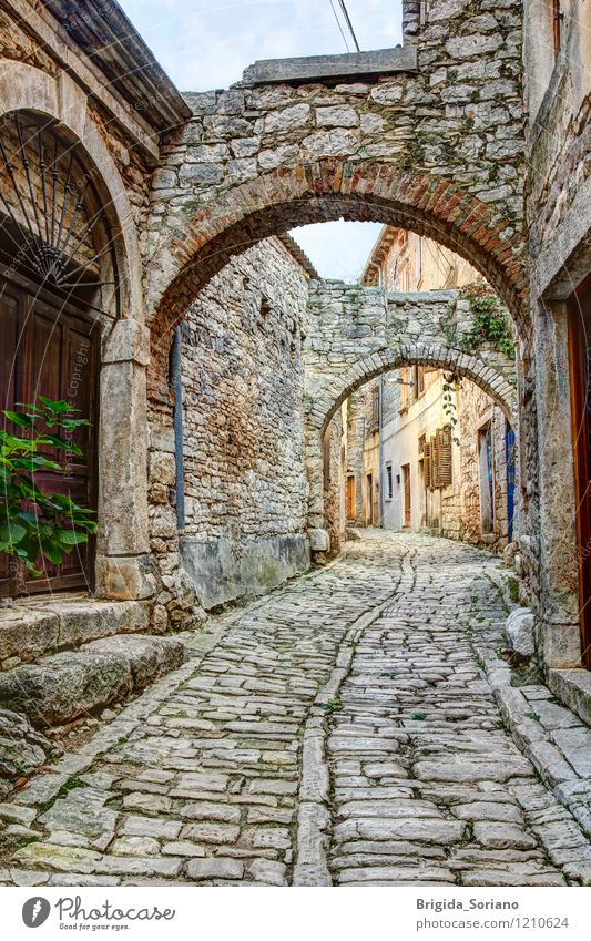 Typical street in Bale or Valle in Croatia Village Small Town Street Stone Old Esthetic Brown Gray Peaceful Calm Vacation & Travel Istria Alley Characteristic