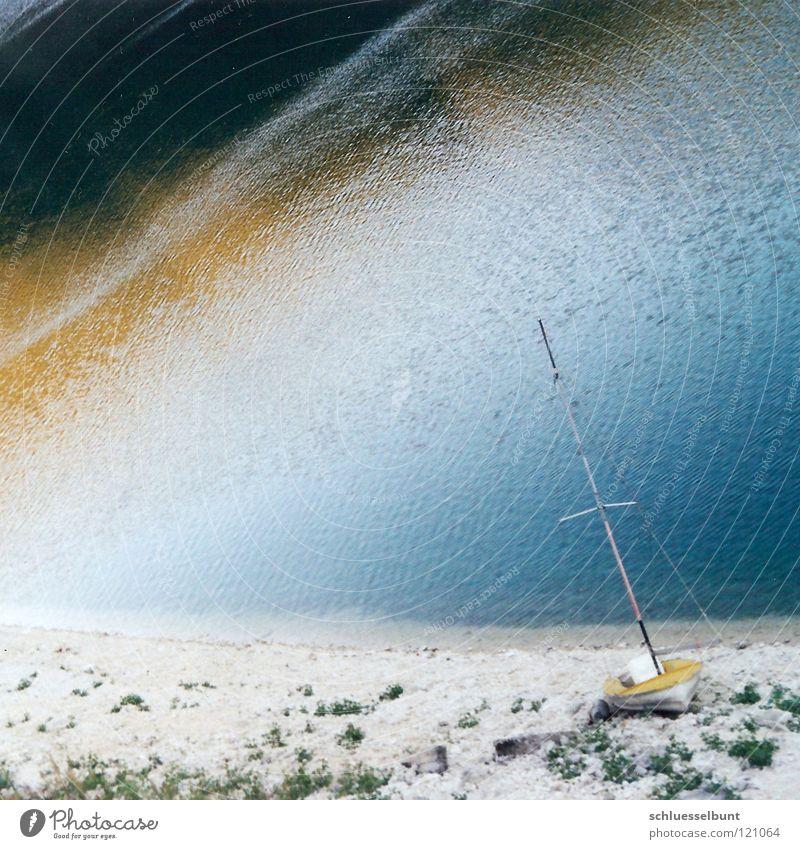 Water Blue Beach Vacation & Travel Calm Loneliness Yellow Colour Freedom Dream Lake Landscape Watercraft Coast Future Break