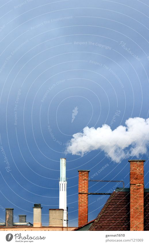 Sky Blue White Red Dark Warmth Energy industry Air Dirty Wind Tall Industry Roof Clean Many Smoke