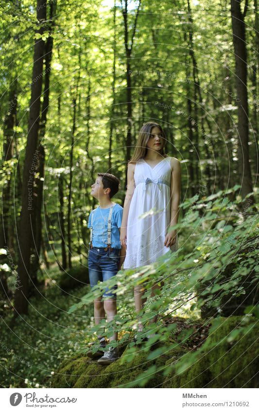 Human being Child Nature Vacation & Travel Youth (Young adults) Summer Tree Calm Girl Forest Boy (child) Playing Happy Dream Contentment 13 - 18 years