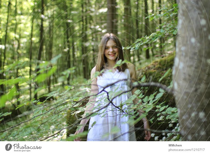 Human being Child Nature Green Beautiful Summer White Tree Calm Girl Forest Laughter Park Contentment Elegant Infancy