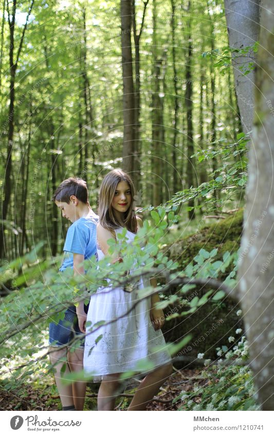 DUO Girl Boy (child) Brothers and sisters Sister Infancy 2 Human being 8 - 13 years Child Nature Summer Beautiful weather Tree Forest Rock Mountain Think
