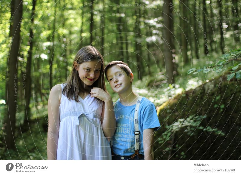 charming Masculine Feminine Girl Boy (child) Brothers and sisters Infancy 2 Human being 8 - 13 years Child Nature Summer Beautiful weather Tree Forest