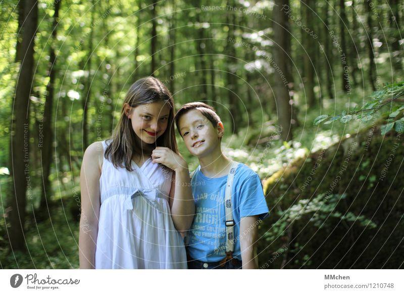 Human being Child Nature Green Summer Tree Girl Forest Natural Feminine Boy (child) Friendship Masculine Illuminate Infancy Wait
