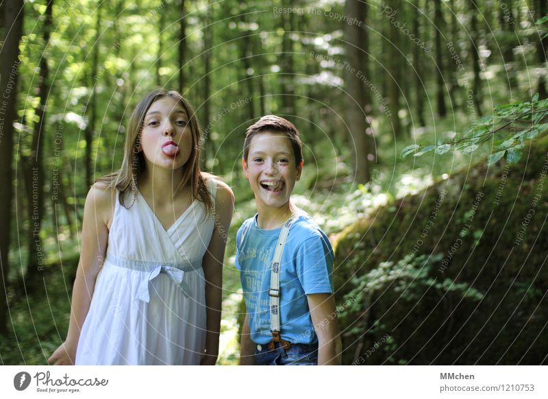 Human being Child Nature Vacation & Travel Green Summer Tree Joy Girl Forest Life Boy (child) Laughter Family & Relations Friendship Idyll