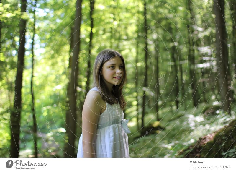 the only way is up Child Girl 8 - 13 years Infancy Nature Sun Summer Beautiful weather Tree Forest Mountain Dress Long-haired Observe Looking Stand Hiking
