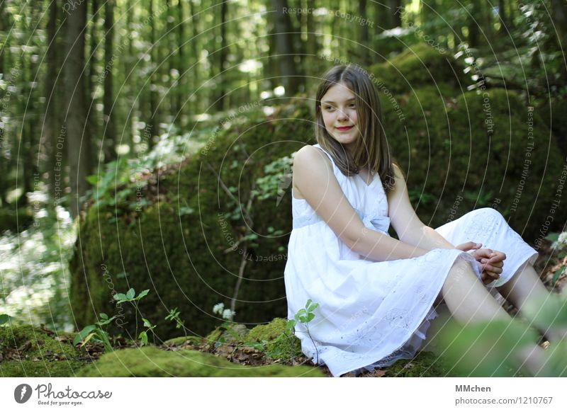 What am I waiting for? Trip Adventure Girl Infancy 1 Human being 8 - 13 years Child Nature Forest Rock Dress Observe Relaxation Sit Wait Beautiful Green White
