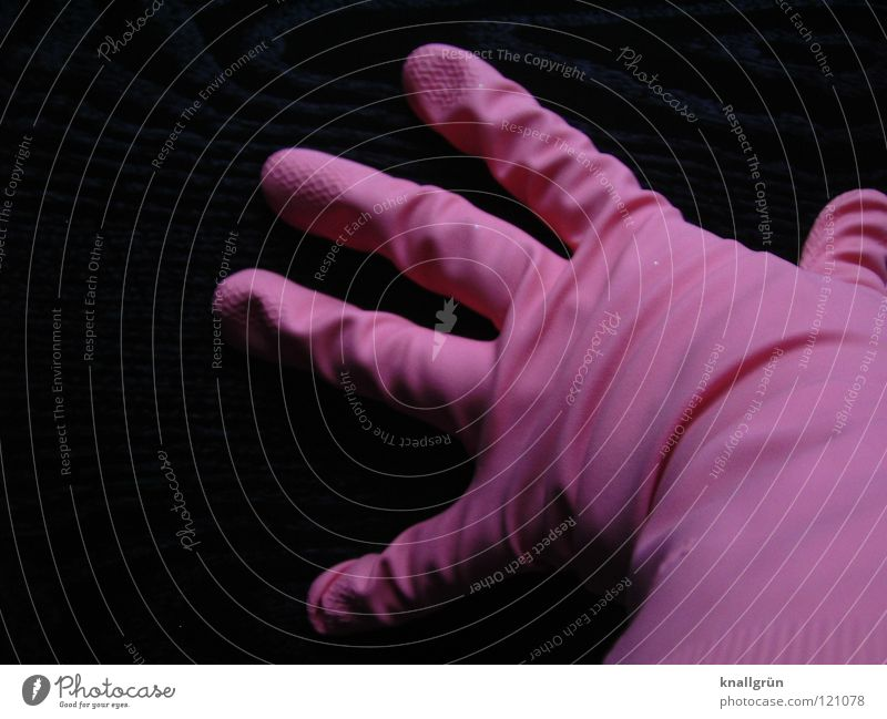 No latex allergy Gloves Pink Fingers Black Rubber Latex Splay Posture Attract Folds Household Safety Clothing Wrinkles stretched put over