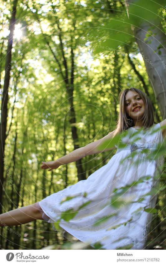 balance Joy Well-being Playing Trip Freedom Feminine Girl 8 - 13 years Child Infancy Nature Sun Summer Forest Dress Rotate Relaxation Flying Dream Happiness
