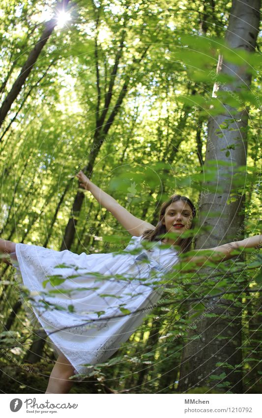 Child Nature Green Beautiful Summer White Tree Calm Joy Girl Forest Life Movement Happy Contentment Illuminate