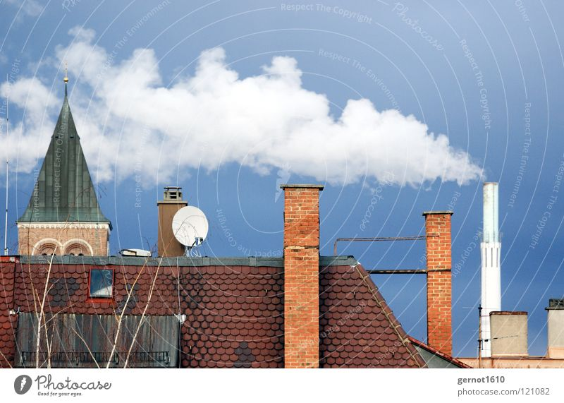 Sky Blue White Red Dark Warmth Energy industry Air Dirty Industry Roof Clean Smoke Chimney Burn Steam