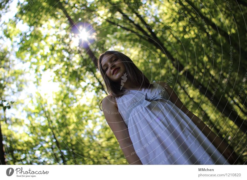 *¶bling ¶ Style Child Girl 1 Human being 8 - 13 years Infancy Nature Summer Beautiful weather Tree Forest Dress Observe Glittering Smiling Looking Stand