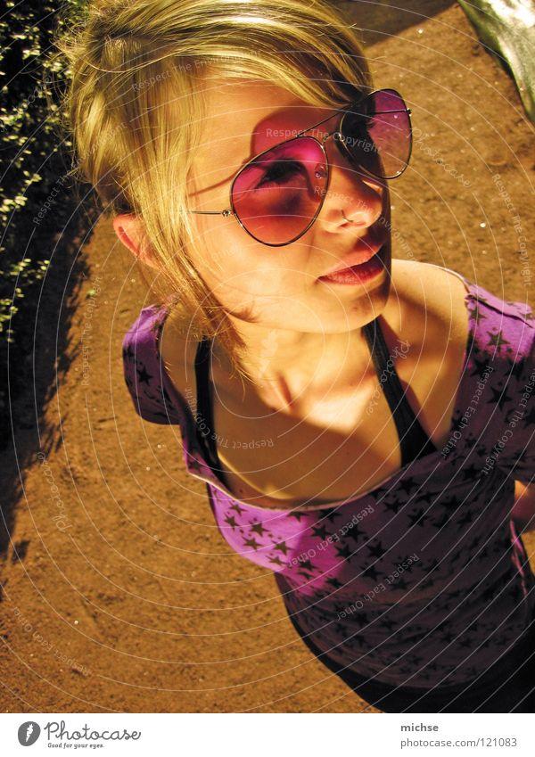 Woman Beautiful Feminine Think Bright Star (Symbol) Eyeglasses Violet Illuminate Light and shadow
