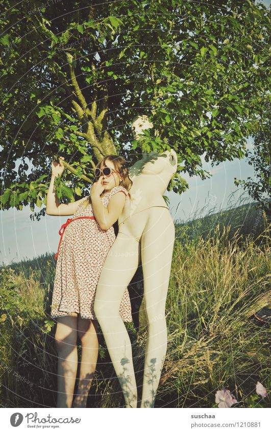 the doll ..... Exterior shot Nature Tree Grass Summer Mannequin Naked no poor Child Dress Sunglasses Infancy playfulness Whimsical Strange Funny Friendship Idea
