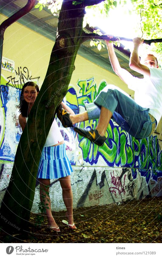 nothing to do Wall (building) Leisure and hobbies Power Force graffiti Climbing Sun Joy Laughter