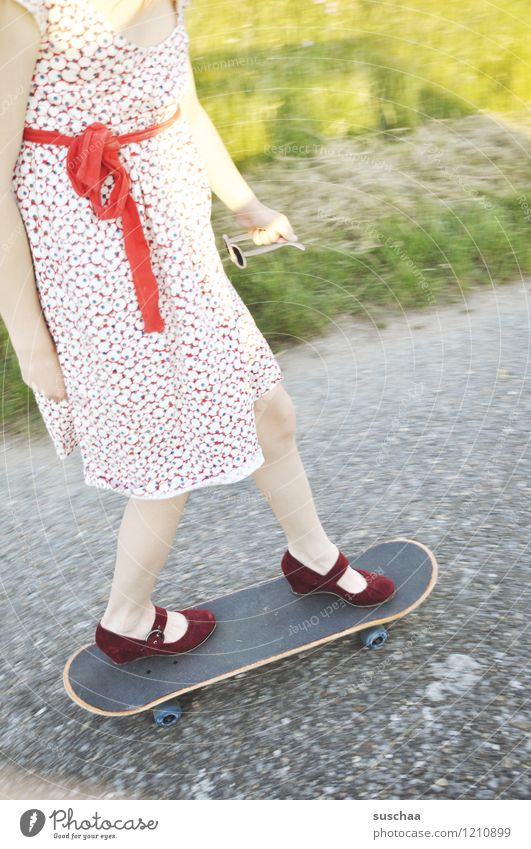 Child Summer Girl Street Lanes & trails Legs Feet Footwear Dress Driving Asphalt Skateboarding Bow Wayside