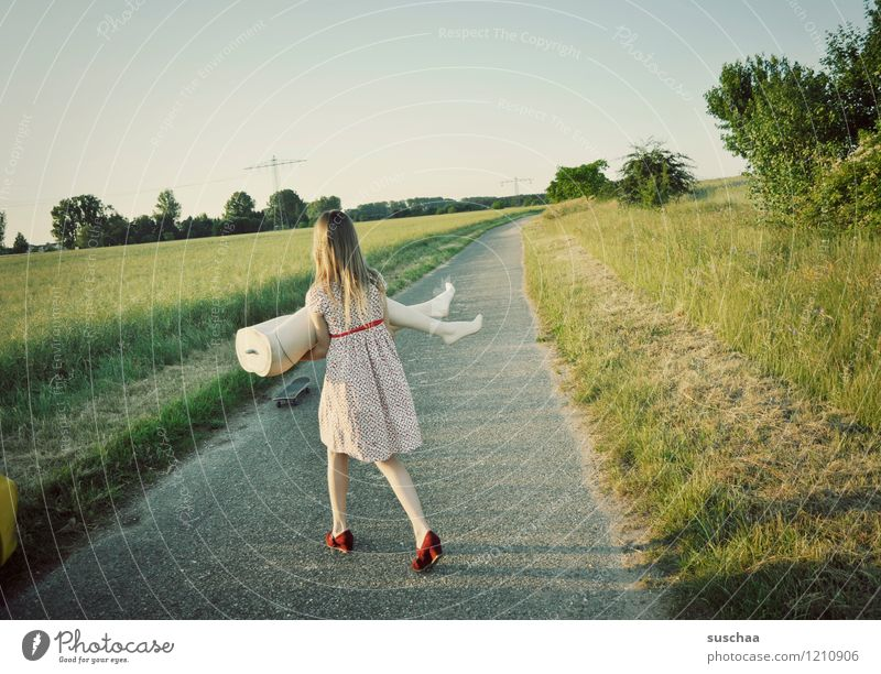 pause is finished ... Nature Exterior shot Summer Lanes & trails Grass Child Girl Dress Mannequin Legs Abdomen Lift Carrying young girl Infancy feminine