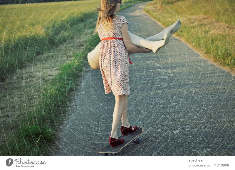 Child Nature Summer Girl Warmth Grass Lanes & trails Legs Dress Driving Skateboard Carrying Lift Mannequin Abdomen