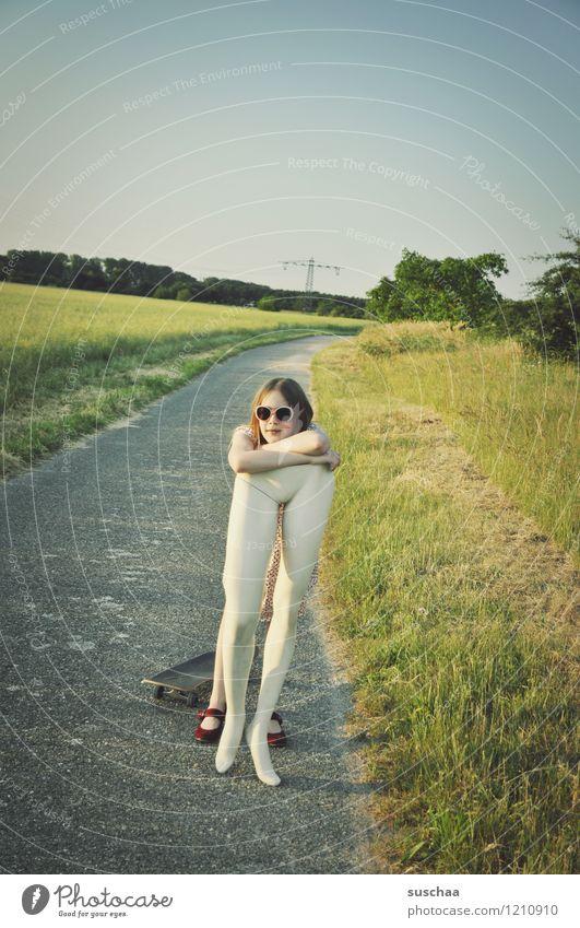 Child Nature Girl Grass Lanes & trails Legs Break Sunglasses Skateboard Restful Mannequin Support Abdomen