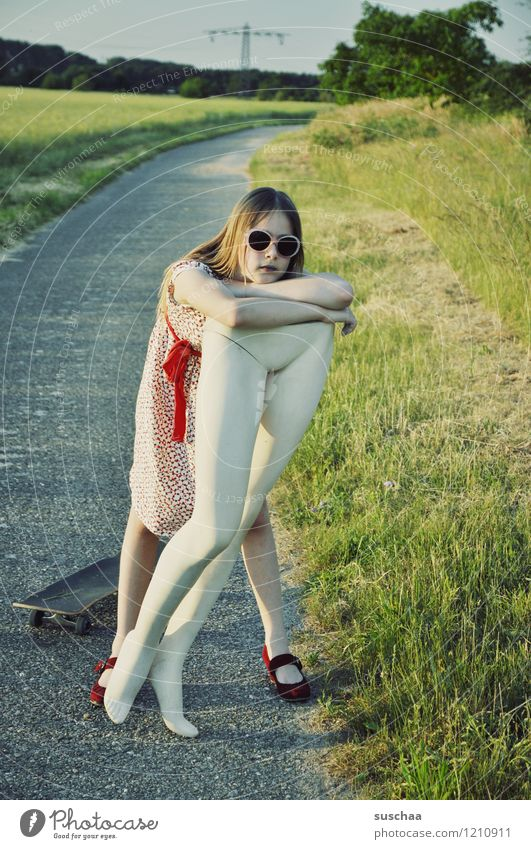 Child Nature Girl Grass Lanes & trails Legs Break Dress Sunglasses Skateboard Restful Mannequin Support Abdomen