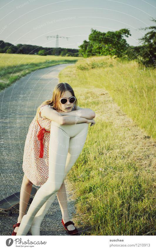 Child Nature Summer Landscape Girl Warmth Grass Lanes & trails Legs Dress Sunglasses Skateboard Mannequin