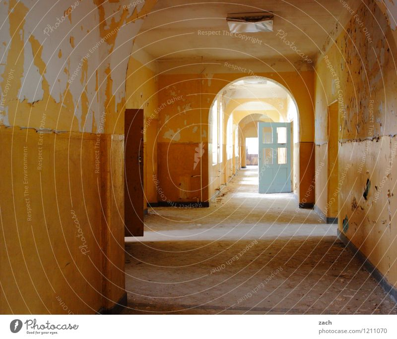 corridor week Living or residing House (Residential Structure) Dream house Redecorate Room Hallway Deserted Ruin Wall (barrier) Wall (building) Window Door Old