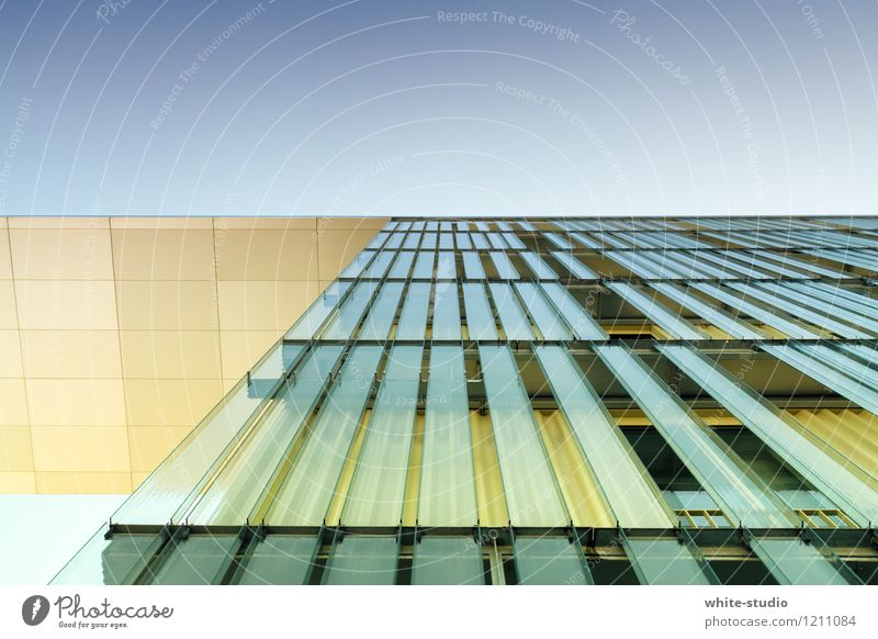 aspiring High-rise Modern Worm's-eye view Manmade structures Architecture Pane Glass Glas facade Facade Town Glass construction Graphic Line Steadfastness
